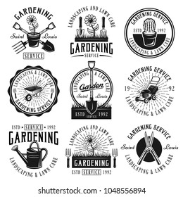 Gardening service, landscaping and lawn care set of nine vector black emblems, badges, labels or logos in retro style isolated on white background