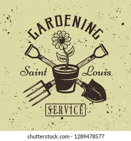 Gardening service vector colored emblem with flower pot on green textured background