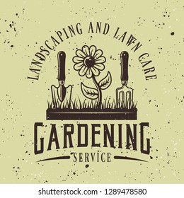 Gardening service vector colored emblem, badge, label or logo on green background with removable grunge textures