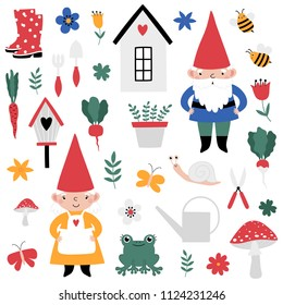 Gardening set with cute gnomes. Vector illustration.