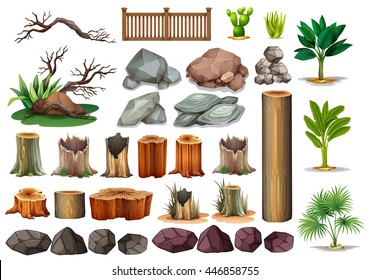 Gardening set of rocks and branches illustration