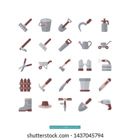 Gardening Tool Flat Icon Set Vector Illustration Logo Template For Website Or Mobile App.