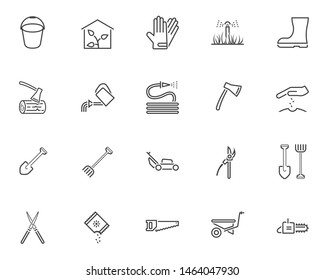 Gardening tool line icons set. linear style symbols collection, outline signs pack. vector graphics. Set includes icons as greenhouse, watering hose, seedling, rack and shovel, lawn mower, wheelbarrow