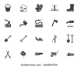 Gardening tool vector icons set, modern solid symbol collection, filled style pictogram pack. Signs, logo illustration. Set includes icons as greenhouse, watering, seedling, rack shovel, lawn mower
