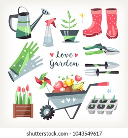 Gardening tools collection objects collection can boots flower