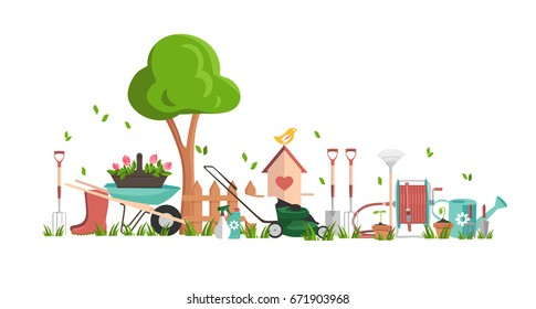 Gardening tools concept poster. Flat vector illustration with seeding in pots, spade, garden fork, trowel, wheelbarrow and hose reel. Template background for site with sets of objects