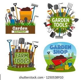 Gardening tools and equipment isolated posters. Garden shop items shovel, spade, rake and pruner, trowel and fork, scissors, pitchfork. Wheelbarrow, cart with soil, agricultural farming tools vector