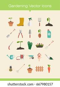 Gardening tools flat vector illustration icons set