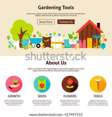 Garden Template | Gardening Tools Flat Web Design Template Stock Vektorgrafik