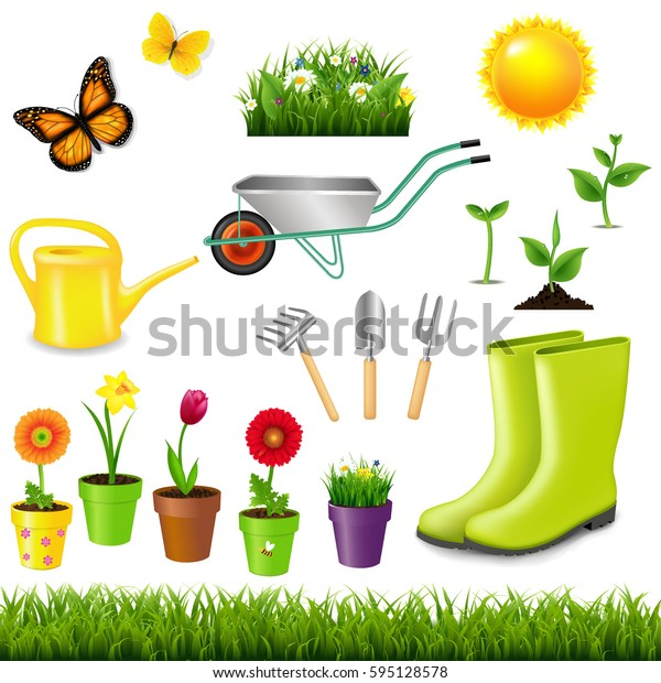 Gardening Tools With Gradient Mesh, Vector Illustration