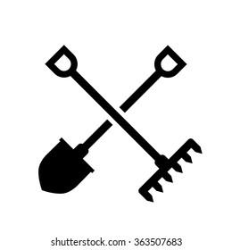 Gardening Tools Icon Flat Graphic Design