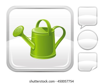Gardening tools icon with watering can for season concept - summer garden or autumn farming harvest. With square and other blank button forms set - speaking bubble, circle, sticker