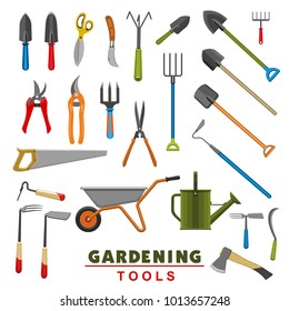Gardening tools icons of farming or farmer garden household. Vector isolated set of rake or pitchfork and spade, planting hoe or wheelbarrow and saw or gardening scissors, watering can and ax