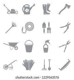Gardening Tools Icons. Gray Flat Design. Vector Illustration.