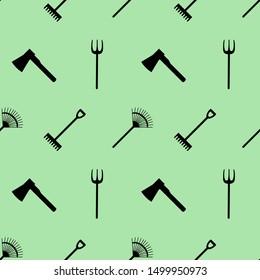 Gardening tools icons, seamless pattern.