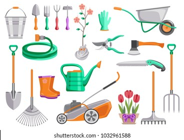 Gardening tools set. Bucket, wheelbarrow, shovel, pitchfork, rake, lawnmower, watering hose, pruner, ax, saw, watering can, plant in pot, sprout. Vector isolated flat illustration, icons.