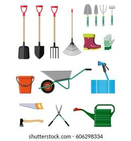 Gardening tools set. Equipment for garden. Saw bucket ax wheelbarrow hose rake can shovel secateurs gloves boots. Vector illustration in flat style