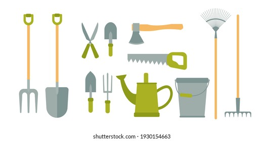 Gardening tools set isolated on white background. Bucket, shovel, pitchfork, rake, pruner, ax, saw, watering can, garden shovels. Vector illustration in cartoon simple flat style.