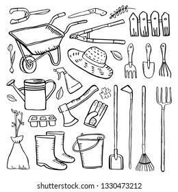 Gardening tools set. Vector hand drawn outline sketch illustration black on white background. Shovels, wheelbarrow, watering cans, rakes, pruners, boots