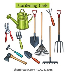 Gardening tools vector illustration in retro sketch style. Shovel, rake and pruner. Watering can, chopper, pruner, ax and forks.