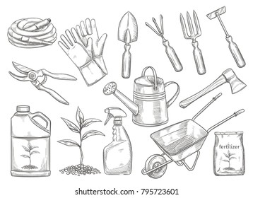 Gardening tools vector illustration in sketch style. Axe, seedling, gardening can and cutter. Fertilizer, glove, insecticide, pitchfork, wheelbarrow and watering hose.