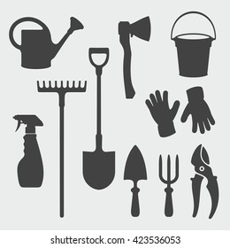Gardening Tools / Vector Silhouette