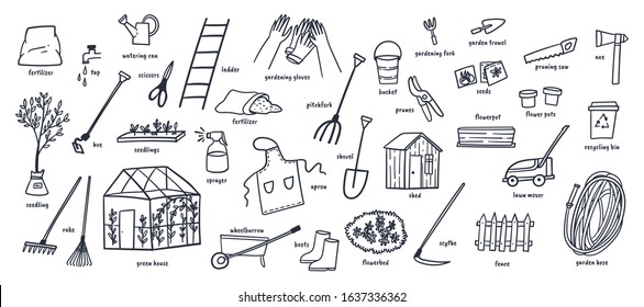 Gardening tools and yard elements doodles hand drawn vector illustration.