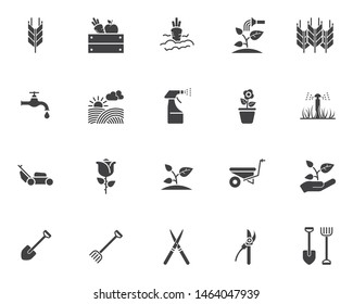 Gardening vector icons set, modern solid symbol collection, filled style pictogram pack. Signs, logo illustration. Set includes icons as spike of wheat, watering sprinkler, field, vegetable , seedling