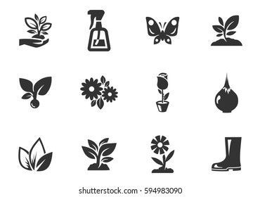 Gardening vector icons for user interface design