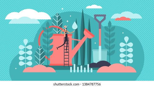 Gardening vector illustration. Flat tiny plant watering care persons concept. Floral natural flowers, forest and decorative grass organic cultivation work. Abstract environmental agriculture seedling.