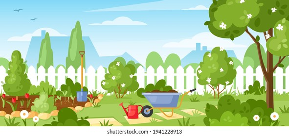 Gardening. Vector illustration of house backyard with trees, bushes, green grass lawn, flowers, garden tools and wood fence. Horizontal garden banner. Spring or summer landscape. Patio area