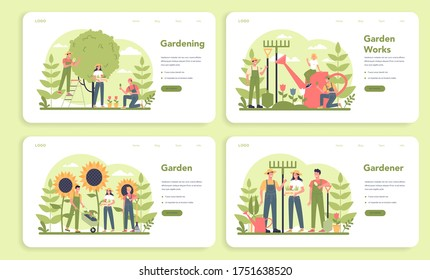 Gardening web banner or landing page set. Idea of horticultural designer business. Character planting trees and bush. Special tool for work, shovel and flowerpot, hose. Isolated flat illustration
