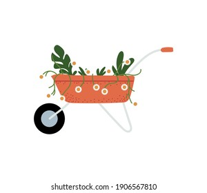 gardening, wheelbarrow with flwoers and plants icon isolated design vector illustration