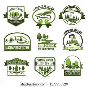 Gardens association icons for landscape design and horticulture gardening. Vector symbols of forest trees or parkland squares and green parks for nature architect premium service company