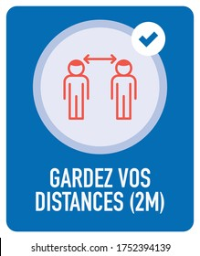 Gardez vos distances 2m (French for: Keep 2m distance from others). Isolated Vector file.