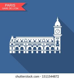 Gare de Lyon in Paris. Vector con with long shadow