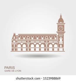 Gare de Lyon in Paris. Vector con with shadow