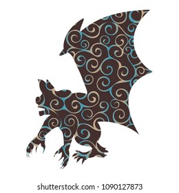 Gargoyle Chimera pattern silhouette ancient mythology fantasy