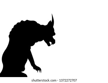 Gargoyle Chimera silhouette of Notre-Dame de Paris, gothic guardians architectural elements, vintage statue medieval, vector isolated