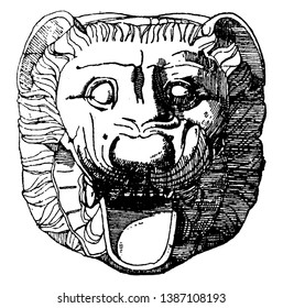 Gargoyle Lion Head found in Metapontum, carved or formed grotesque, little variation, vintage line drawing or engraving illustration.