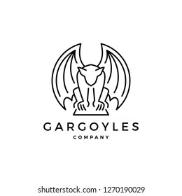 gargoyles, gargoyle logo vector outline illustration