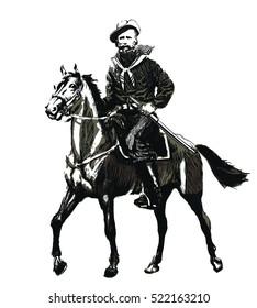 Garibaldi Giuseppe on horse. Italian history.