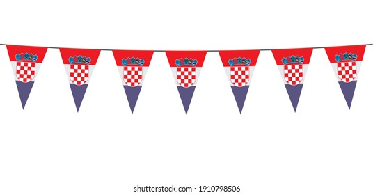 Garland banner in the colors of Croatia on a white background