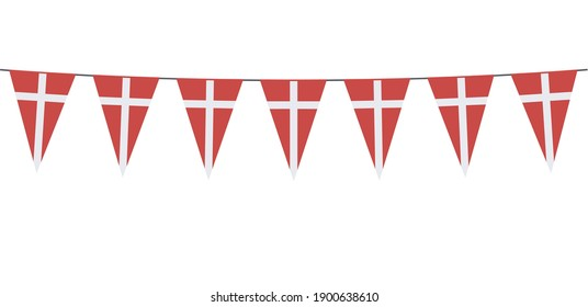 Garland banner in the colors of Denmark on a white background