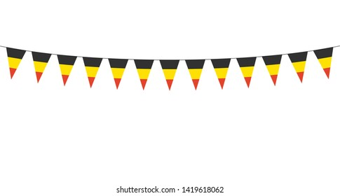 Garland with black yellow red pennants on a white background
