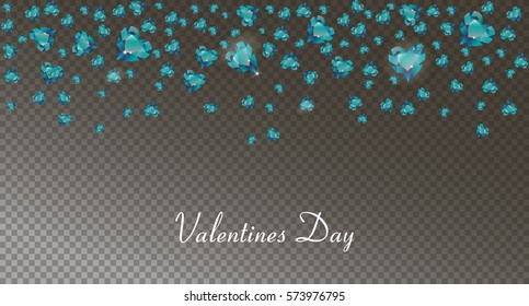 garland from  blue hearts falling down, gemstones, diamonds decorative beautiful background for the invitation, a banner, a card for St. Valentine's Day,