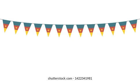 Garland with Cameroon pennants on a white background