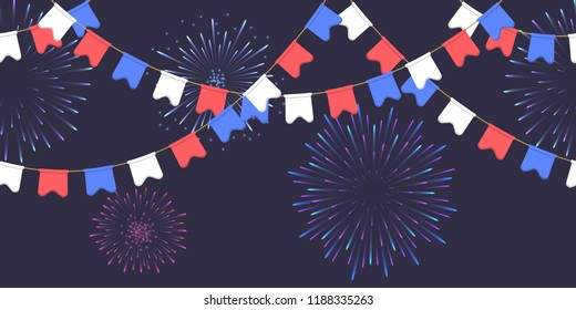 Garland with celebration flag chain, white, blue, red pennons and salute on dark background, footer and banner fireworks