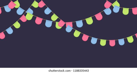 Garland with celebration flags chain, pink, blue, green rounded pennons on dark background, footer and banner for decoration, eps 10