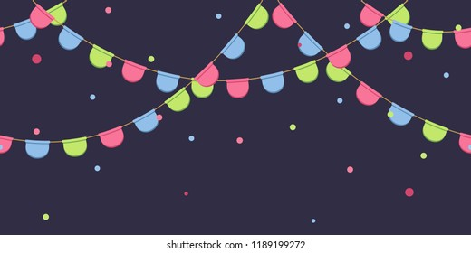 Garland with celebration flags chain, pink, blue, green pennons with confetti on dark background, footer and banner for decorations